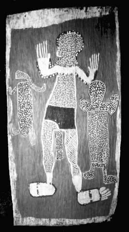 Mangudji, Man With Leprocy, circa 1958. Bark Painting: yellow, white, black on red ground, 75 x 39.7 cm. Gift of Dr Stuart Scougall, 1961, Art Gallery of New South Wales